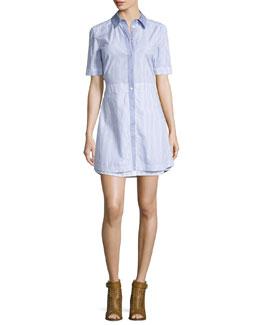 Ginger Striped A-Line Shirtdress, Blue/White