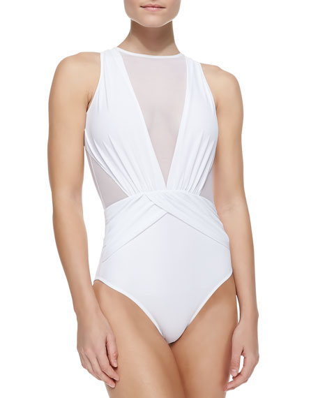 OYE Swimwear Elvira Sheer Wrapped One-Piece Swimsuit