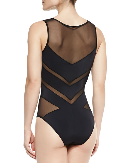 Shaw Solid/Mesh Striped One-Piece