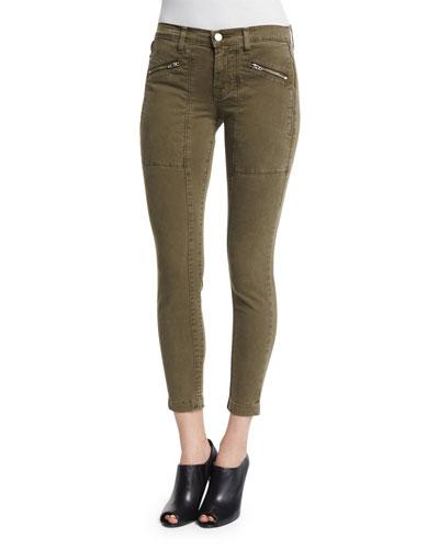 Genesis Mid-Rise Utility Cropped Pants, Distressed Troope