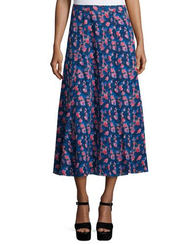 Wixson Floral Silk Midi Skirt, Navy