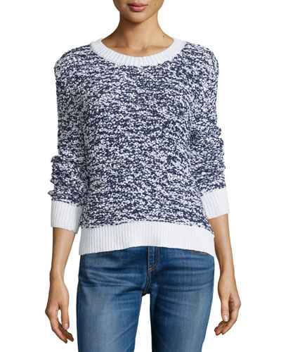 Marley Ribbed-Trim Pullover, Navy