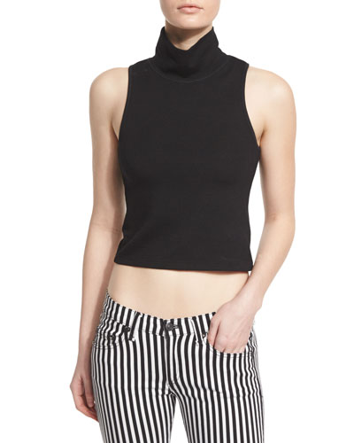Mod Turtleneck Cropped Tank, Black