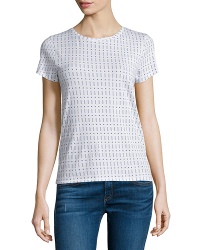 Base Short-Sleeve Jewel-Neck Tee, White Print