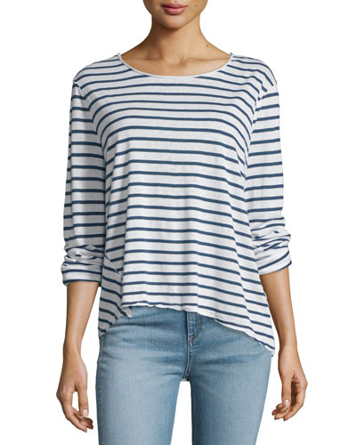 Ash Long-Sleeve Striped Top, Indigo/White