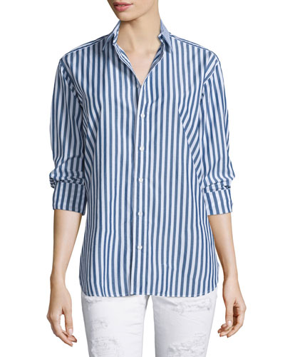 Button-Front Striped Boyfriend Shirt, Navy/White Stripe
