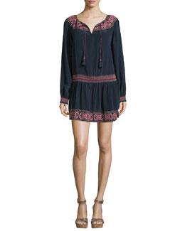 Pavalli Long-Sleeve Embroidered Dress, Navy