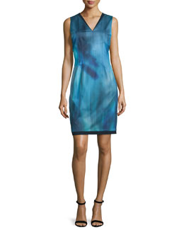 Emory Sleeveless Printed Sheath Dress, Dark Refresh