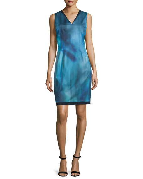 Emory Sleeveless Printed Sheath Dress, Dark Refresh