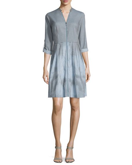 Rudy Long-Sleeve Zip-Front Shirtdress, Gray