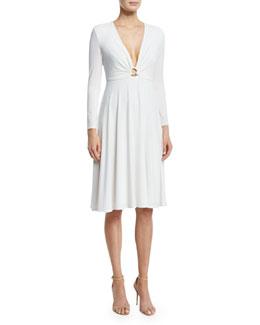 Bracelet-Sleeve V-Neck Dress, Eggshell