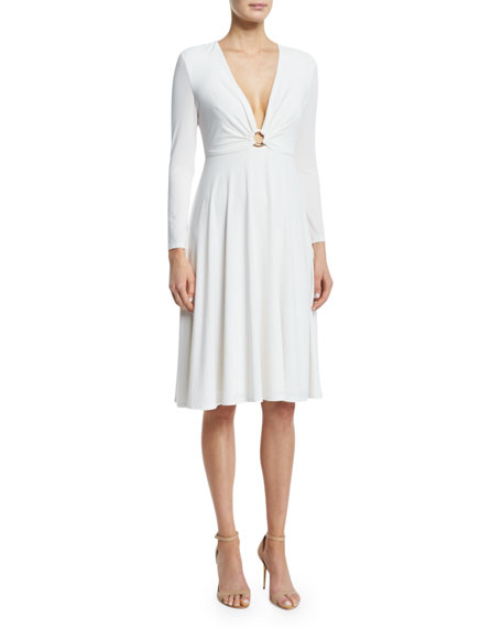 Bracelet-Sleeve V-Neck Dress, Eggshell
