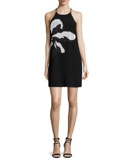 Sleeveless Embroidered Slip Dress, Black