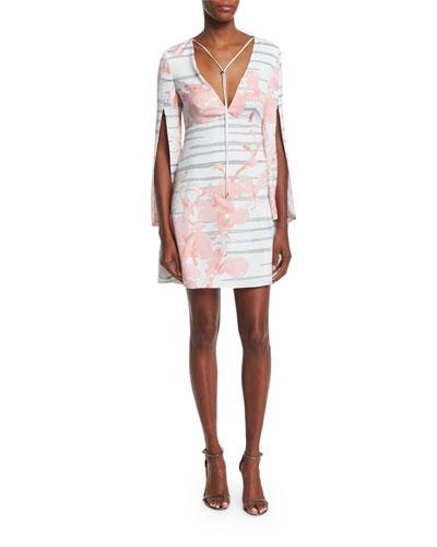 Split-Sleeve Floral-Print Sheath Dress, Lotus Orchid Stripe