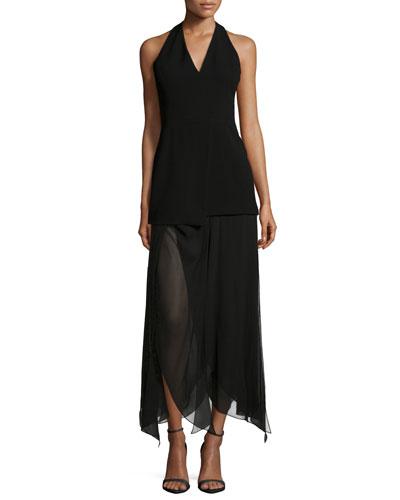 Sleeveless Handkerchief-Hem Dress, Black