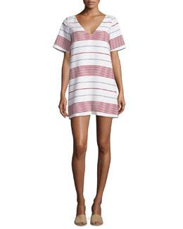 Orlando V-Neck Striped Mini Dress, Multi Colors
