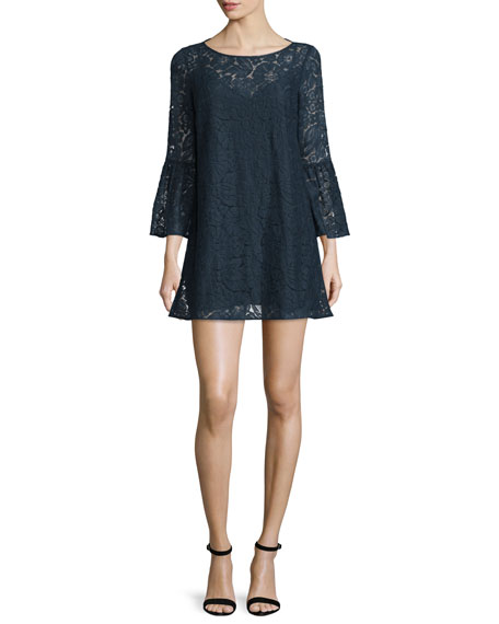 Glorietta 3/4-Sleeve Lace Dress, Navy
