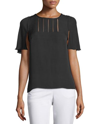 Cape-Sleeve Top W/Slit Detail, Black