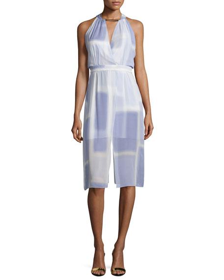 Sleeveless V-Neck Printed Dress, Iris Color