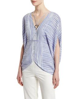 Short-Sleeve Striped Kaftan Top