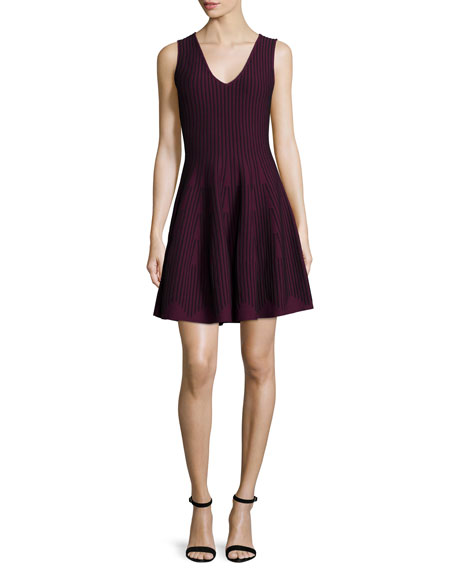 Sleeveless Fit-&-Flare Dress, Burgundy/Black