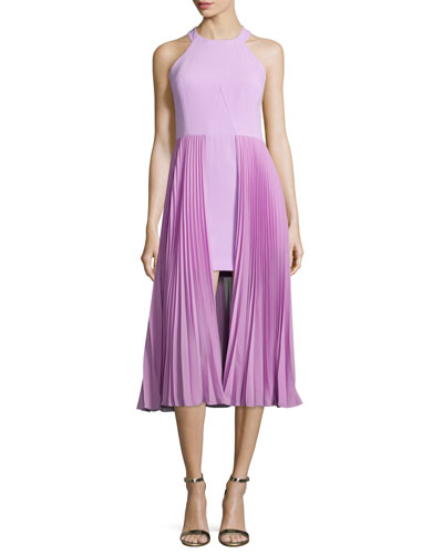 Sleeveless Round-Neck Plisse Dress