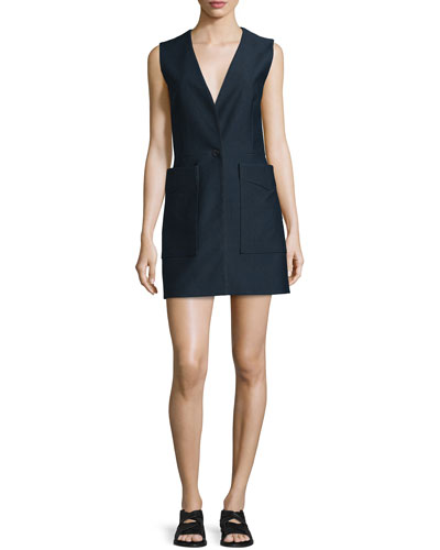 Fleet Sleeveless Cotton-Blend Dress, Salute