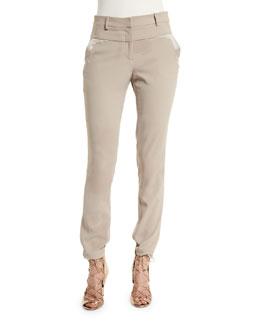 Mid-Rise Slim-Fit Pants, Pebble