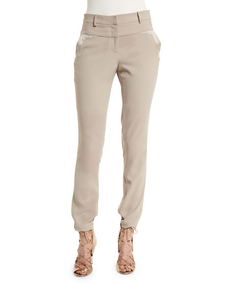 Mid-Rise Slim-Fit Pants, Pebble
