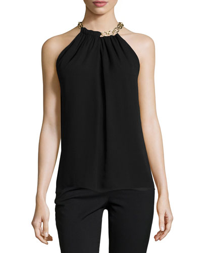 Aubrey Chain-Trim Silk Top, Black