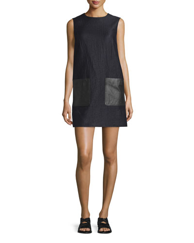 Decoy Sleeveless Jacquard Shift Dress, Dark Navy