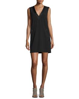 Phoebe Sleeveless Crepe Dress, Black