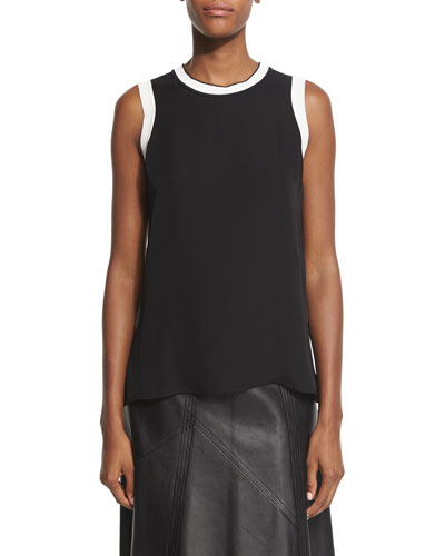 Maude Silk Georgette Tank, Black