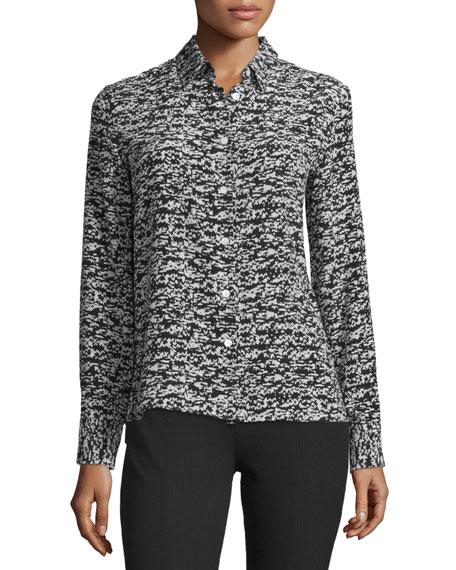Poppy Abstract-Print Silk Shirt, Black Fleck