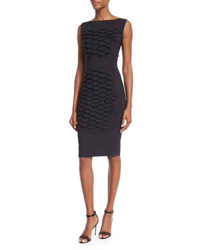 Sleeveless Fish Scale Textured Sheath Dress, Black