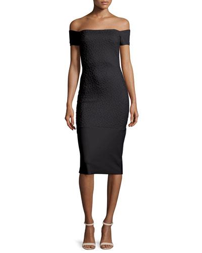 Off-the-Shoulder Textured Sheath Dress