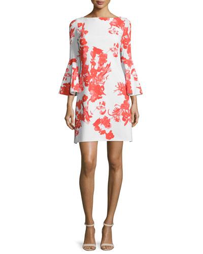 Bell-Sleeve Floral-Print A-line Dress