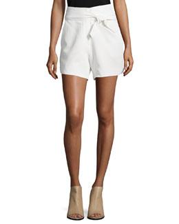 Magik High-Waist Belted Shorts, Ecru