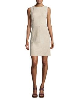 Whipstitch Nubuck Leather Sleeveless Dress