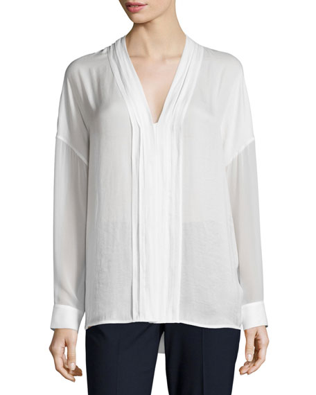 Vince Embroidered-Stitch V-Neck Shirt