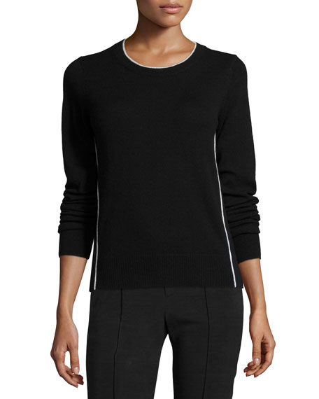Vince Contrast Tipping Crewneck Sweater, Black/Off-White