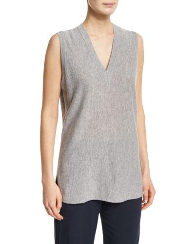 V-Neck Sleeveless Cashmere Sweater