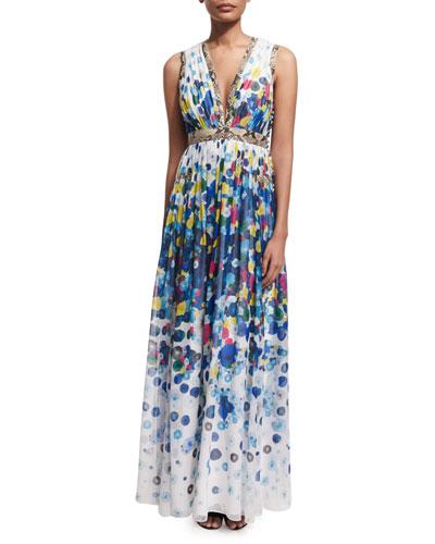 Lelani Floating Flower Maxi Dress, Multicolor