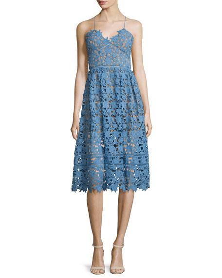 Azaelea Guipure-Lace Illusion Dress, Blue