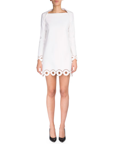 Long-Sleeve Eyelet Sheath Dress, Optic White