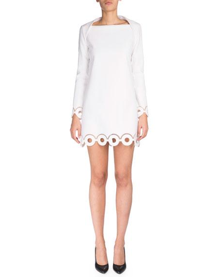 Long-Sleeve Eyelet Sheath Dress, Optic White