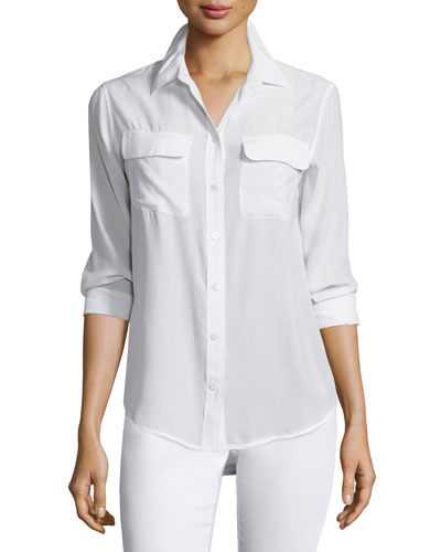 Slim Signature Long-Sleeve Shirt, Bright White