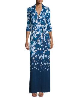 Abigail Floating Flowers Silk Maxi Wrap Dress