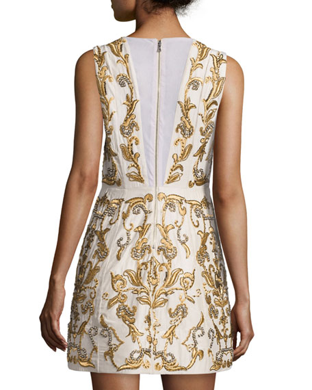 Prescilla Embellished Mini Dress, Gold
