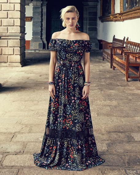 7dbbb94016b1 Alice + Olivia Cheri Off-the-Shoulder Floral Maxi Dress